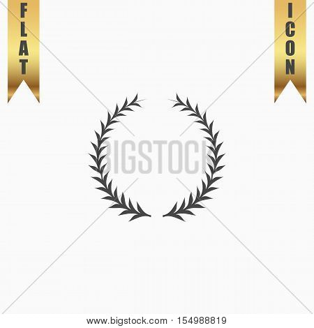 Simple Laurel wreath. Flat Icon. Vector illustration grey symbol on white background with gold ribbon