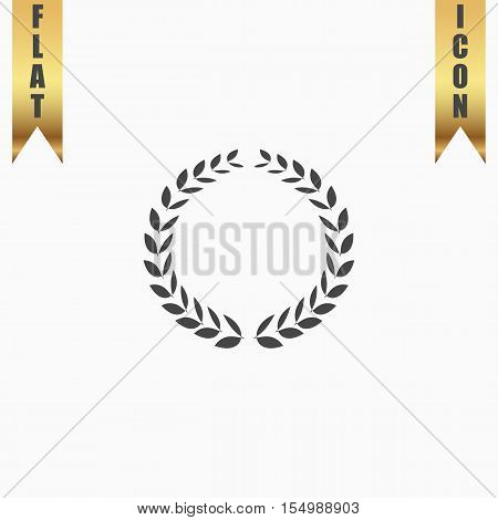 Laurel wreath. Flat Icon. Vector illustration grey symbol on white background with gold ribbon