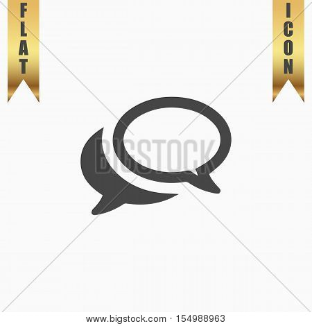 Simple Chat or Dialogue. Flat Icon. Vector illustration grey symbol on white background with gold ribbon