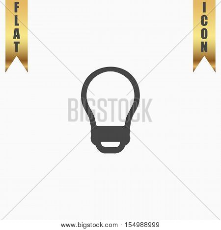 Led lamp. Flat Icon. Vector illustration grey symbol on white background with gold ribbon