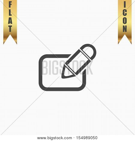 Registration. Flat Icon. Vector illustration grey symbol on white background with gold ribbon