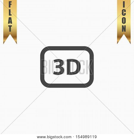 3d. Flat Icon. Vector illustration grey symbol on white background with gold ribbon