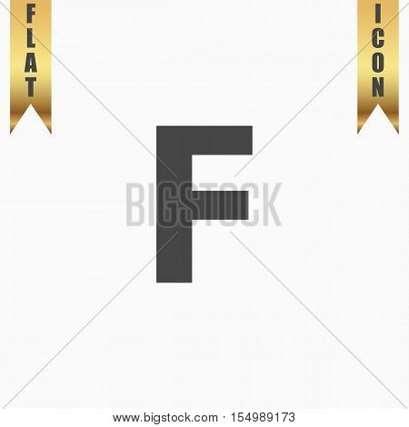 Letter F. Flat Icon. Vector illustration grey symbol on white background with gold ribbon