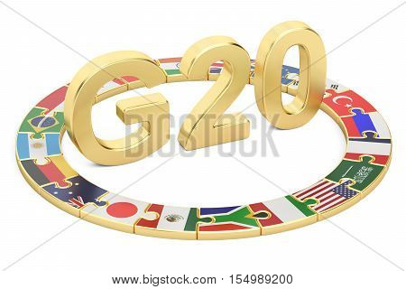 G20 puzzle concept 3D rendering isolated on white background