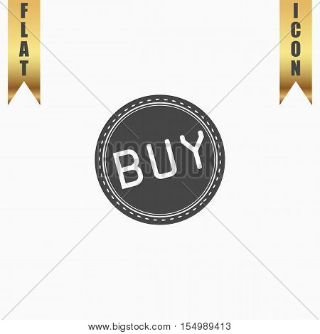 Buy Badge, Label or Sticker. Flat Icon. Vector illustration grey symbol on white background with gold ribbon