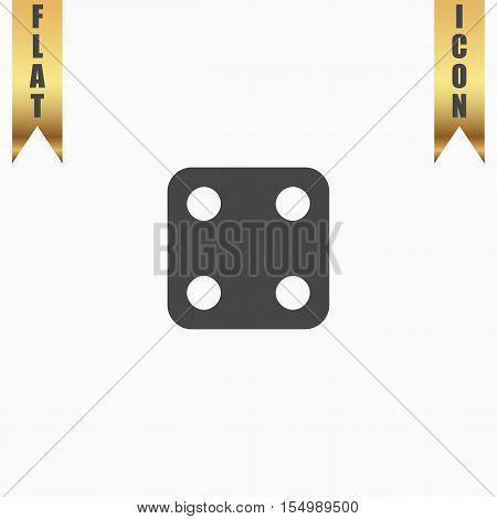One dices - side with 4. Flat Icon. Vector illustration grey symbol on white background with gold ribbon