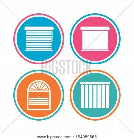 Louvers icons. Plisse, rolls, vertical and horizontal. Window blinds or jalousie symbols. Colored circle buttons. Vector