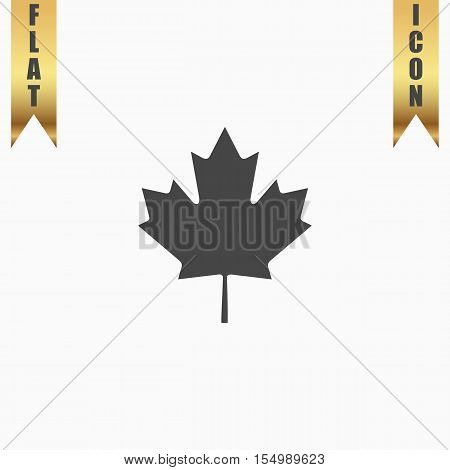 Simple maple leaf. Flat Icon. Vector illustration grey symbol on white background with gold ribbon