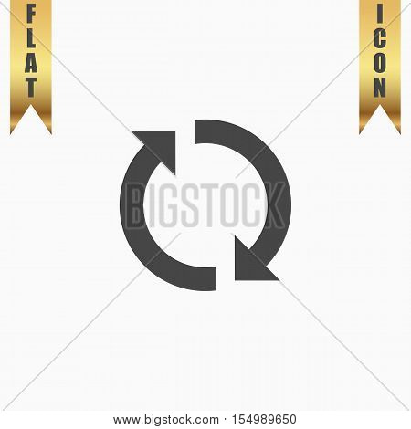 Refresh reload rotation loop sign. Flat Icon. Vector illustration grey symbol on white background with gold ribbon