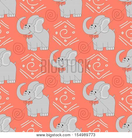 African animals pattern. Seamless pattern with elephant and african design element on a background.