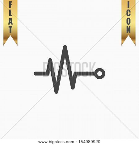 Life line - Heart beat, cardiogram. Flat Icon. Vector illustration grey symbol on white background with gold ribbon