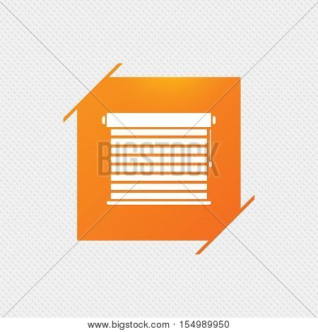 Louvers sign icon. Window blinds or jalousie symbol. Orange square label on pattern. Vector