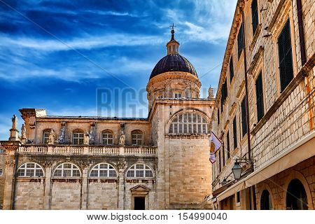 Rector's Palace And Blue Sky. Old Street In Dubrovnik