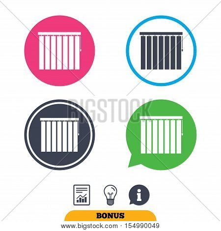 Louvers vertical sign icon. Window blinds or jalousie symbol. Report document, information sign and light bulb icons. Vector