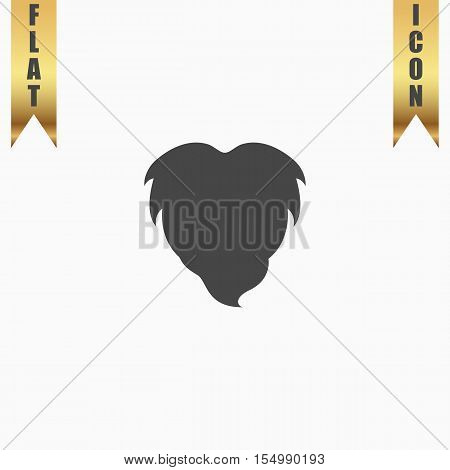 Beard. Flat Icon. Vector illustration grey symbol on white background with gold ribbon