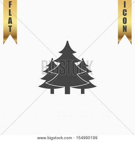 Christmas fir tree. Flat Icon. Vector illustration grey symbol on white background with gold ribbon