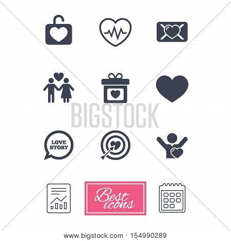 Love, valentine day icons. Target with heart, oath letter and locker symbols. Couple lovers, heartbeat signs. Report document, calendar icons. Vector