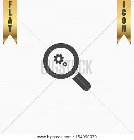 Business Analysis. Flat Icon. Vector illustration grey symbol on white background with gold ribbon