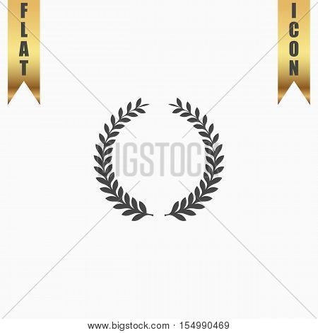Laurel Wreaths. Flat Icon. Vector illustration grey symbol on white background with gold ribbon