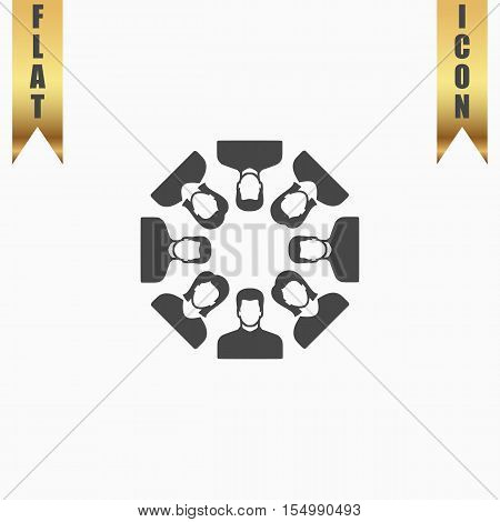 Work team concept. Flat Icon. Vector illustration grey symbol on white background with gold ribbon