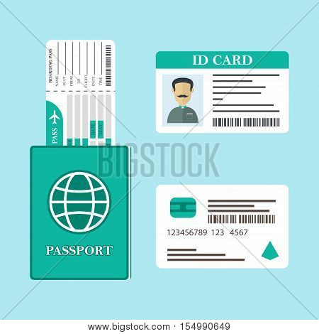 Vector illustration of ID Card, passport, boarding pass and credit card. Travel documents icons