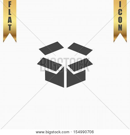 Open box. Flat Icon. Vector illustration grey symbol on white background with gold ribbon