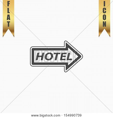 Hotel signboard vector. Flat Icon. Vector illustration grey symbol on white background with gold ribbon