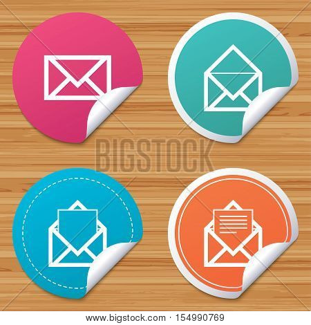 Round stickers or website banners. Mail envelope icons. Message document symbols. Post office letter signs. Circle badges with bended corner. Vector