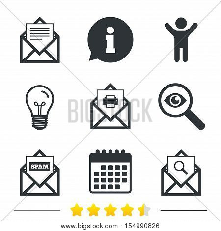 Mail envelope icons. Print message document symbol. Post office letter signs. Spam mails and search message icons. Information, light bulb and calendar icons. Investigate magnifier. Vector