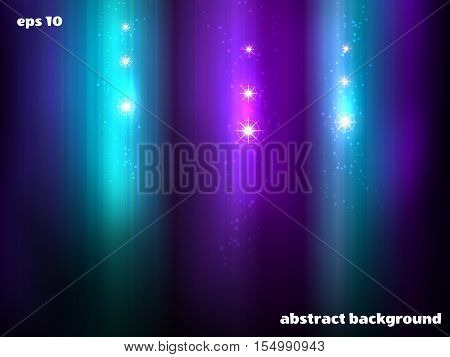 Abstract vector background. Northern lights and stars.