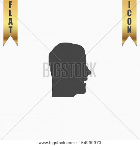 Face. Flat Icon. Vector illustration grey symbol on white background with gold ribbon