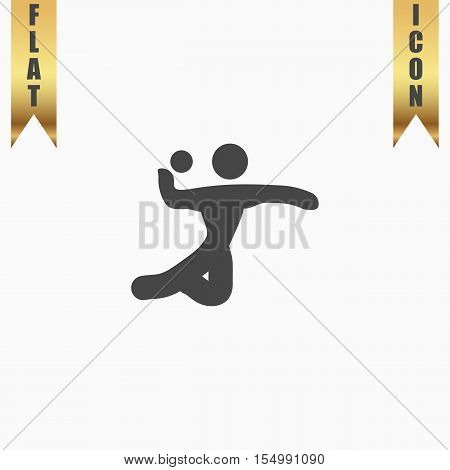 Volleyball player serving the ball. Flat Icon. Vector illustration grey symbol on white background with gold ribbon