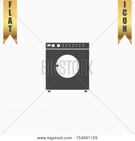 Washing machine. Flat Icon. Vector illustration grey symbol on white background with gold ribbon