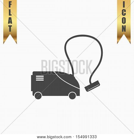 Vacuum cleaner. Flat Icon. Vector illustration grey symbol on white background with gold ribbon