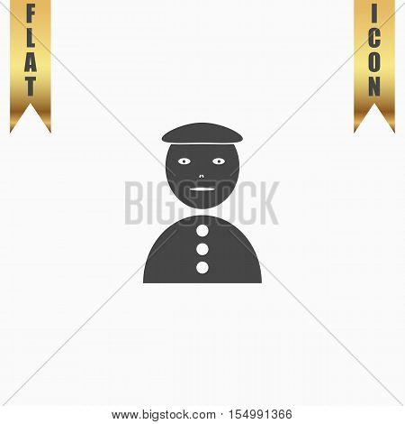Asian man. Flat Icon. Vector illustration grey symbol on white background with gold ribbon