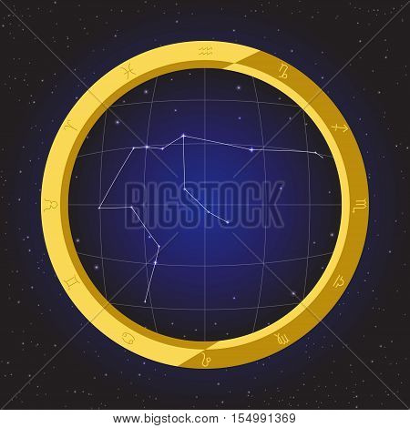 aquarius star horoscope zodiac in fish eye telescope golden ring frame with cosmos background