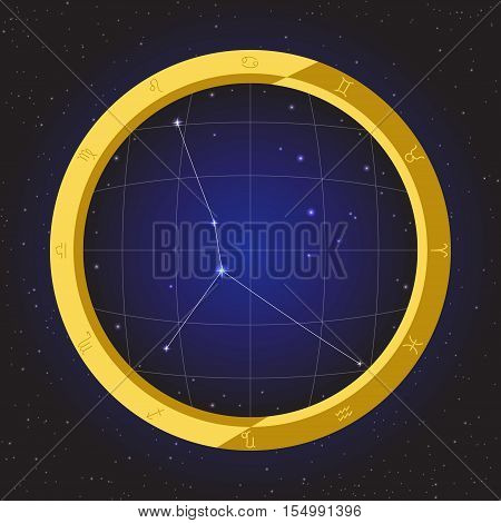 cancer star horoscope zodiac in fish eye telescope golden ring frame with cosmos background