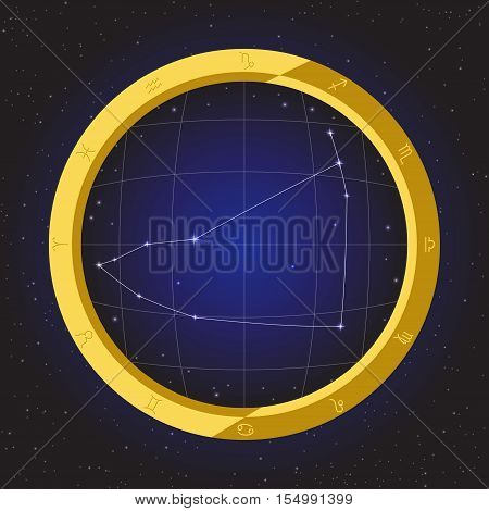 capricorn star horoscope zodiac in fish eye telescope golden ring frame with cosmos background