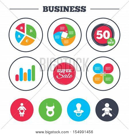 Business pie chart. Growth graph. Maternity icons. Baby infant, pregnancy and dummy signs. Child pacifier symbols. Shirt with heart. Super sale and discount buttons. Vector