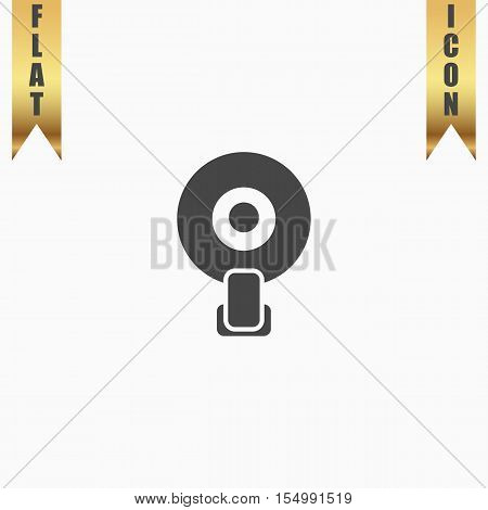 Web camera. Flat Icon. Vector illustration grey symbol on white background with gold ribbon