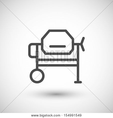 Concrete mixer line icon isolated on grey. Vector illustration