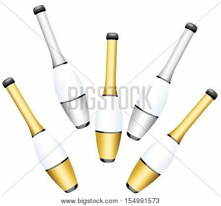 Juggling clubs - gold and silver set - isolated vector illustration on white background.