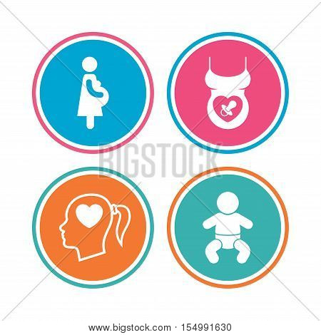 Maternity icons. Baby infant, pregnancy and dummy signs. Child pacifier symbols. Head with heart. Colored circle buttons. Vector