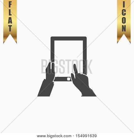 Tap And Hold - Tablet. Flat Icon. Vector illustration grey symbol on white background with gold ribbon