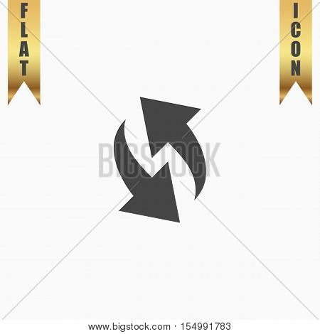 Rounded two arrows. Flat Icon. Vector illustration grey symbol on white background with gold ribbon