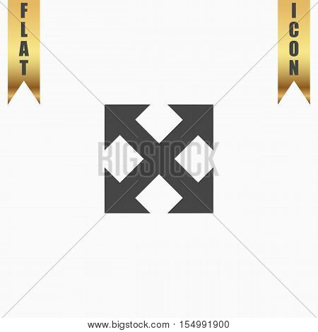 Four sides arrow. Flat Icon. Vector illustration grey symbol on white background with gold ribbon