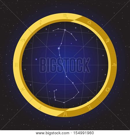 scorpio star horoscope zodiac in fish eye telescope golden ring frame with cosmos background