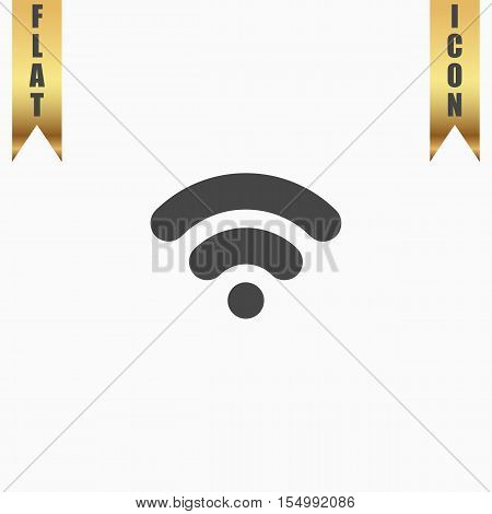 Simple Wifi network symbol. Flat Icon. Vector illustration grey symbol on white background with gold ribbon