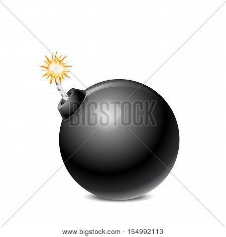 Black Bomb Isolated On White Background Vector Illustration
