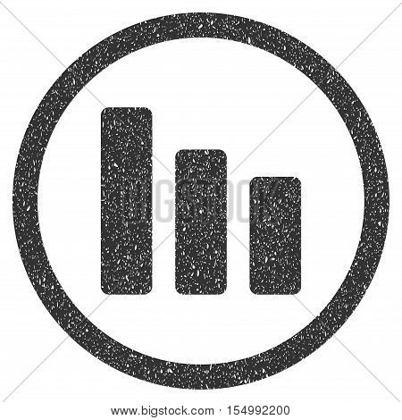 Bar Chart Decrease rubber seal stamp watermark. Icon symbol inside circle frame with grunge design and unclean texture. Scratched vector gray ink sticker on a white background.